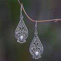 Cultured pearl dangle earrings, 'Filigree Tendrils' - Balinese Cultured Pearl Silver Filigree Handcrafted Earrings
