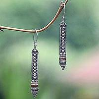 Gold accent dangle earrings, 'Balinese Scepter' - Sterling Silver Dangle Earrings with 18k Gold Accents
