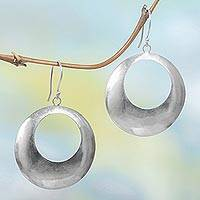 Sterling silver dangle earrings, 'Minimalist Moon'