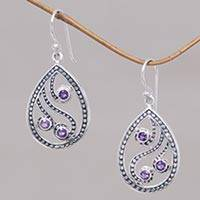 Amethyst dangle earrings, 'Peacock Feather' - Handcrafted Balinese Sterling Silver and Amethyst Earrings