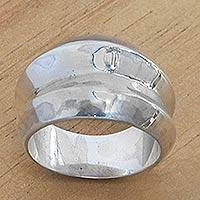 Sterling silver band ring, 'Modern Moonbeams' - Wide Sterling Silver Contemporary Band Ring