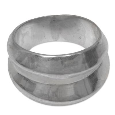 Sterling silver band ring, 'Modern Moonbeams' - Wide Sterling Silver Contemporary Band Ring