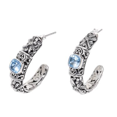 Balinese Blue Topaz Half Hoop Earrings in Sterling Silver