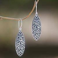 Sterling silver dangle earrings, 'Balinese Floral' - Engraved Sterling Silver Dangle Earrings with Floral Motif