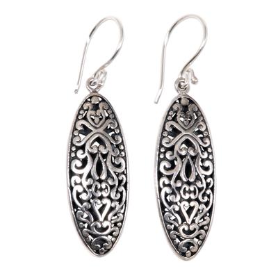 Sterling silver dangle earrings, 'Balinese Floral' - Engraved Sterling Silver Dangle Earrings with Floral Motif