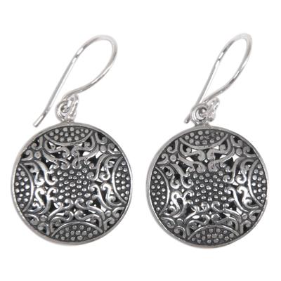 Sterling silver dangle earrings, 'Abundant Beauty' - Ornate Indonesian Handcrafted Sterling Silver Earrings