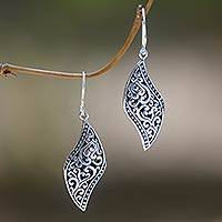 Sterling silver dangle earrings, 'Voluptuous Leaf' - Ornate Leaf Theme Balinese Sterling Silver Artisan Earrings