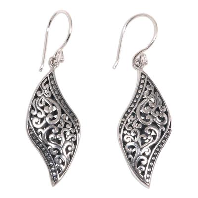 Sterling silver dangle earrings, 'Voluptuous Leaf' - Ornate Leaf Theme Balinese Sterling Silver Artisan Earrings