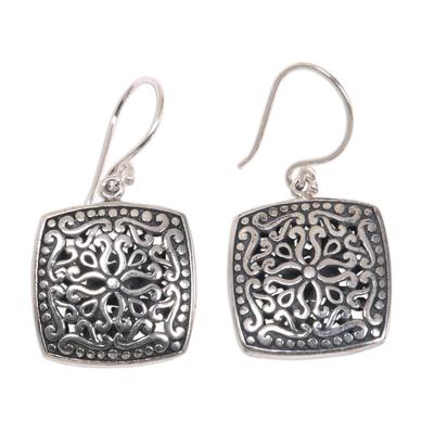 Sterling silver dangle earrings, 'Ornate Tendrils' - Sterling Silver Artisan Handcrafted Balinese Earrings