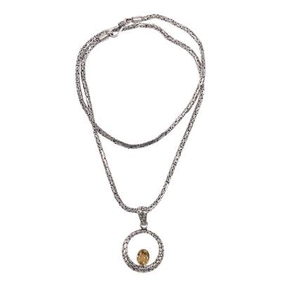 Citrine pendant necklace, 'Citrine Sunrise' - Artisan Crafted Citrine and Sterling Silver Pendant Necklace