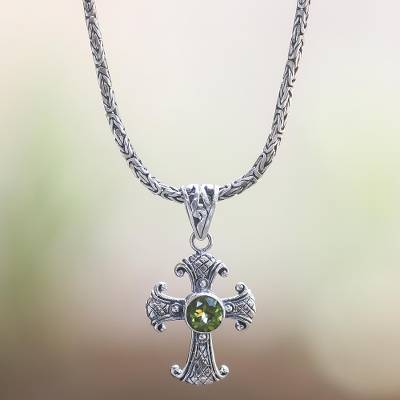 Novica Peridot pendant necklace, Radiant Spring