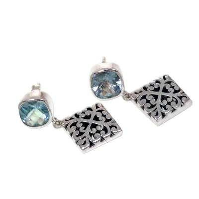 Novica Blue Blue Topaz 925 Sterling Silver Dangle Earrings
