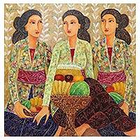 'Making Offerings' - Original Balinese Painting of Three Women Making Offerings