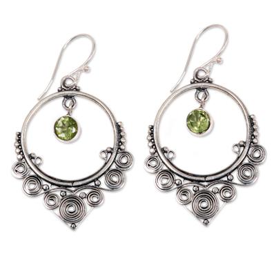 Ornate Sterling Silver Dangle Earrings with Peridot