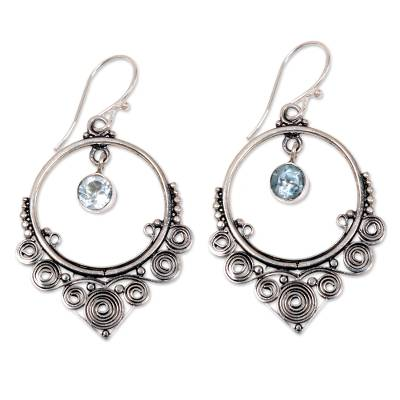 Ornate Silver Dangle Earrings with One Carat of Blue Topaz