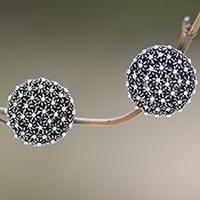 Sterling silver button earrings, 'Sanur Coral'