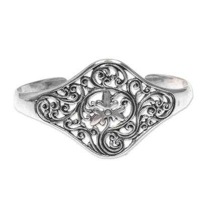 Handcrafted Balinese Floral Sterling Silver Cuff Bracelet