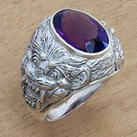 Amethyst men's ring, 'Benevolent Barong'