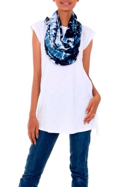Rayon blend infinity scarf, 'Dawn Sky' - Versatile Rayon Blend Infinity Scarf Shrug in Blue Shades