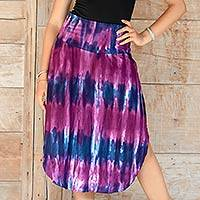 Rayon blend skirt, 'Twilight Amlapura' - Stylish Tie Dyed Rayon Blend Skirt with Hi Low Hemline
