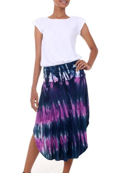 Stylish Tie Dyed Rayon Blend Skirt with Hi Low Hemline