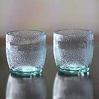 Small recycled juice glasses, 'Frozen' (pair) - Small Handmade Balinese Recycled Drinking Glasses (Pair)