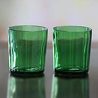 Recycled juice glasses, 'Forest Green' (pair) - Handmade Recycled Green Juice Glasses (Pair)