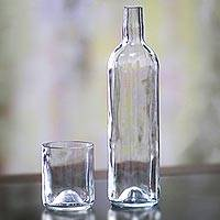 Recycled carafe and drinking glass set, 'Clear Skies' - Handcrafted Clear Recycled Bottle and Drinking Glass Set