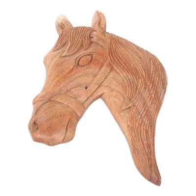 Artisan Crafted Wood Horse Wall Panel from Bali