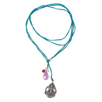 Multi-gem and sterling silver lariat necklace, 'Meditation in Turquoise' - Artisan Crafted Multi-Gemstone and Nylon Lariat Necklace
