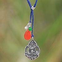 Multi-gem and sterling silver lariat necklace, 'Meditation in Blue' - Blue Necklace with Gemstone and Sterling Silver Buddha Charm