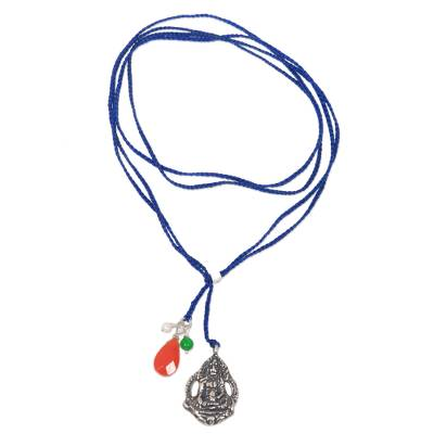 Blue Necklace with Gemstone and Sterling Silver Buddha Charm