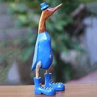 Wood sculpture, 'Uncle Duck in Blue Hat' (16 inch) - Wooden Statuette of Duck in Blue Boots and Hat (16 Inch)
