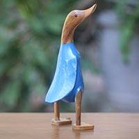 Wood sculpture, 'Standing Duck in Blue' (12 inch) - Artisan Crafted Wood and Bamboo Duck Statuette (12 Inch)