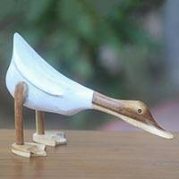 Wood sculpture, 'Diving Duck in White' - White Finished Duck Sculpture Hand Carved in Java