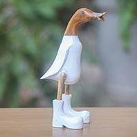 Wood sculpture, 'White Duck Squawks' (10 inch) - Fair Trade 10 Inch Wooden Duck Statuette with White Finish