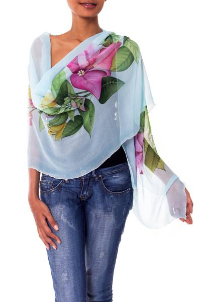 Hand Painted Sky Blue Silk Shawl with Bougainvillea Flowers