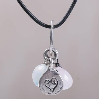 Rose quartz, opal and sterling silver charm necklace, 'Heartfelt Love' - Artisan Crafted Sterling Silver and Gemstone Charm Necklace