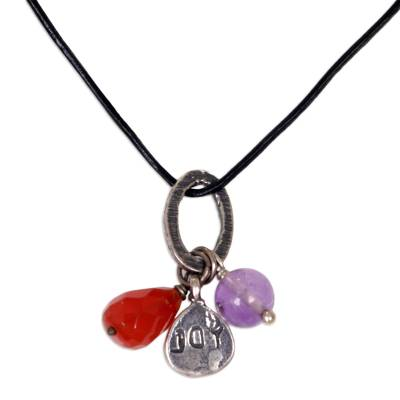 Carnelian Amethyst Leather Cord Pendant Necklace Indonesia