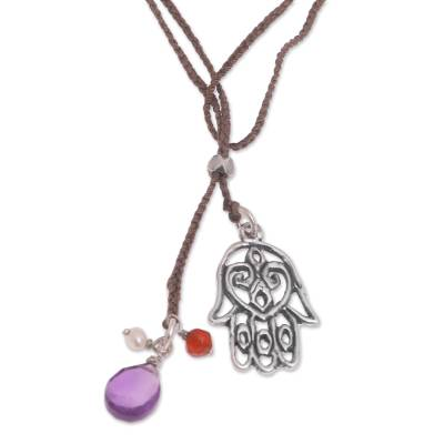 Sterling silver and multi-gemstone lariat necklace, 'Hamsa Hand' - Handmade Sterling Silver Hamsa Hand Multigem Cord Necklace