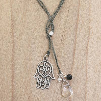 Quartz and onyx lariat necklace, 'Green Hamsa Hand' - Hamsa Hand Lariat Necklace with Onyx Pearl and Quartz