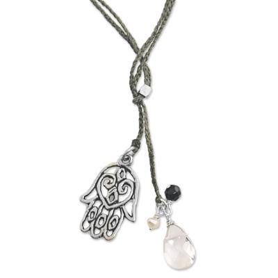 Quartz and onyx lariat necklace, 'Green Hamsa Hand' - Hamsa Hand Lariat Necklace with Onyx Pearl and Quartz
