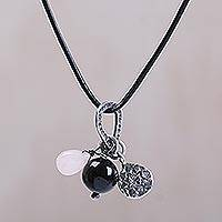 Rose quartz, onyx and sterling silver charm necklace, 'Lotus Glow' - Handmade Sterling Silver Charm and Gemstone Bead Necklace