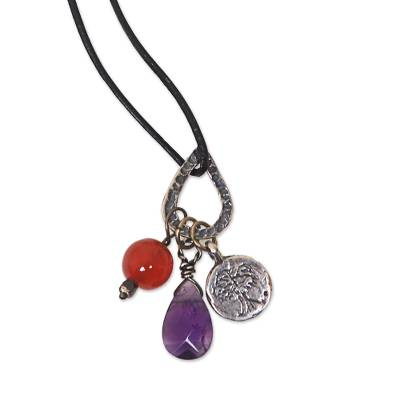Amethyst and carnelian pendant necklace, 'Banyan Tree' - Multigem Stamped Sterling Silver Banyan Tree Cord Necklace
