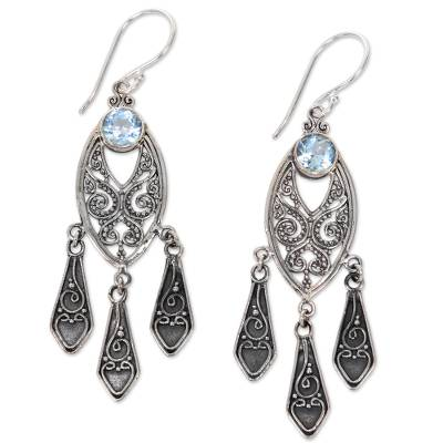 Balinese Sterling Silver Chandelier Earrings with Blue Topaz
