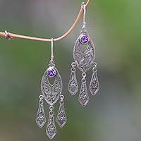Amethyst chandelier earrings, 'Balinese Wind Chime' - Ornate Balinese Amethyst Chandelier Earrings in Silver 925