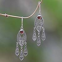 Garnet chandelier earrings, 'Balinese Wind Chime' - Handcrafted Garnet Chandelier Earrings in Sterling Silver