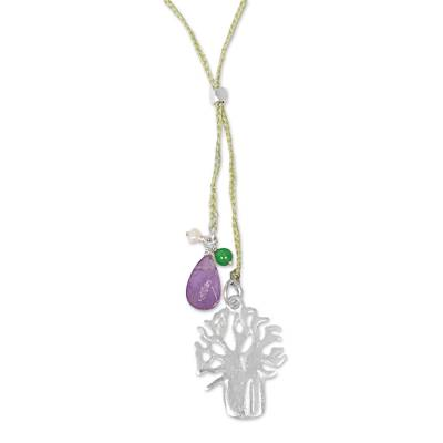 Handmade Lariat Necklace with Amethyst Pearl and Quartz