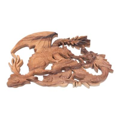 Wood relief panel, 'Dragon Fight' - Artisan Crafted Balinese Dragon Wood Relief Panel