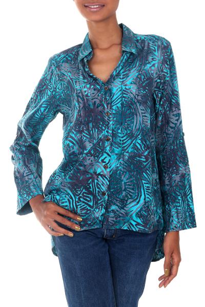 Rayon batik hi-low blouse, 'Turquoise Glyphs' - Rayon Batik Long Sleeve Turquoise Hi-Low Button Blouse